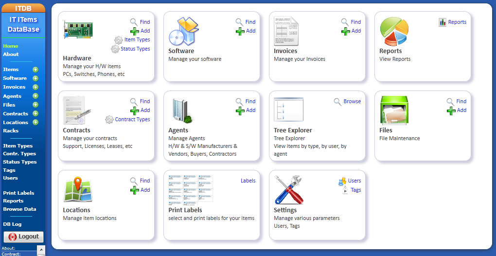 ITDB - IT Items Database - Free IT Asset Management Software